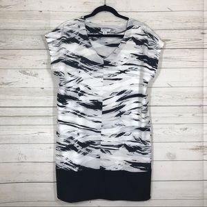 Katherine Barclay Abstract White and Black Dress